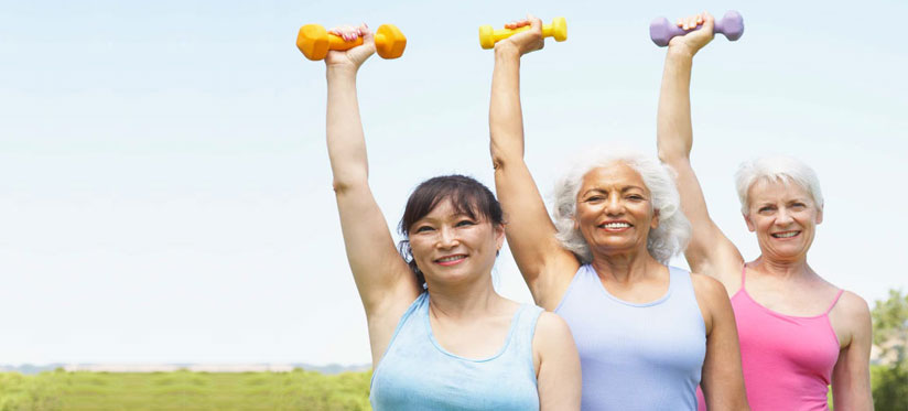 elderly women working out