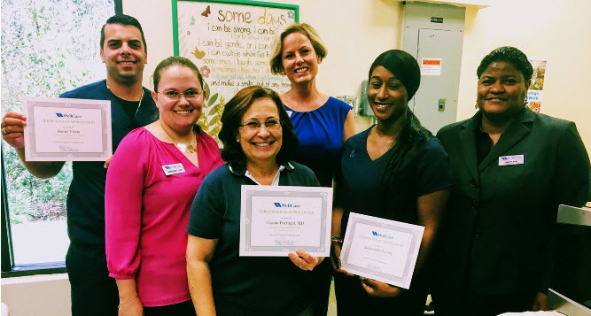 ix happy providers after receiving certificate of patient care advocacy program